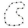 Jet Black Glass Bead Necklace In Silver Tone Metal - 66cm L