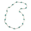 Green Glass Bead Necklace In Silver Tone Metal - 66cm L