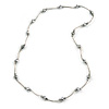 Grey Glass Bead Necklace In Silver Tone Metal - 66cm L