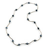 Black Glass Bead Necklace In Silver Tone Metal - 66cm L