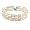 4 Row Light Cream Faux Glass Pearl Rigid Choker Necklace with Silver Tone Closure - 38cm L/ 5cm Ext