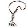 Handmade Blue, Red Ceramic Bead Tassel Brown Silk Cord Necklace - 46cm to 66cm Long (Adjustable)