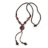 Long Brown Ceramic Bead Tassel Necklace with Silk Cotton Cord - 80cm L/ 10cm Tassel