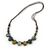 Multi Ceramic Bead Brown Cord Necklace (Dusty Yellow, Grey, Blue) - 60cm to 80cm (Adjustable)