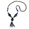 Long Blue, Black Ceramic Bead Tassel Black Silk Cord Necklace - 66cm to 80cm Long (Adjustable)