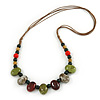 Multi Ceramic Bead Brown Cord Necklace (Dusty Green, Red, Dusty White) - 60cm to 80cm (Adjustable)