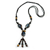 Long Blue, Black, Natural Brown Ceramic Bead Tassel Black Silk Cord Necklace - 66cm to 80cm Long (Adjustable)