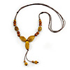Long Dusty Yellow/ Brown Ceramic Bead Tassel Cord Necklace - 60cm to 80cm Long (Adjustable)
