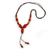 Long Red/ Brown Ceramic Bead Tassel Cord Necklace - 60cm to 80cm Long (Adjustable)