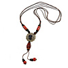 Orange/ Brown Ceramic Bead Tassel Necklace with Brown Cotton Cords - 60cm L - 80cm L (adjustable)/ 13cm Tassel