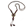 Brown Red Ceramic Bead Tassel Necklace with Brown Cotton Cords - 60cm L - 80cm L (adjustable)/ 13cm Tassel