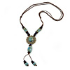 Light Blue/ Brown Ceramic Bead Tassel Necklace with Brown Cotton Cords - 60cm L - 80cm L (adjustable)/ 13cm Tassel