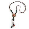 Brown/ Green Ceramic Bead Tassel Necklace with Brown Cotton Cords - 60cm L - 80cm L (adjustable)/ 13cm Tassel