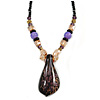Romantic Floral Glass Pendant with Beaded Chain Necklace (Purple/ Black/ Champagne) - 44cm L