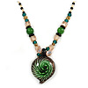 Romantic Floral Glass Pendant with Beaded Chain Necklace (Green/ Black/ Champagne) - 44cm L