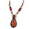 Romantic Floral Glass Pendant with Beaded Chain Necklace (Carrot Red/ Black/ Champagne) - 44cm L
