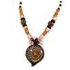 Romantic Floral Glass Pendant with Beaded Chain Necklace (Olive Green/ Black/ Orange) - 44cm L