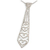 Star Quality Clear Austrian Crystal Tie Necklace In Silver Tone Metal - 32cm L/ 15cm Ext/ 21cm Tie
