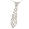 Star Quality Clear Austrian Crystal Tie Necklace In Silver Tone Metal - 30cm L/ 15cm Ext /17cm Tie