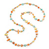 Long Orange/ Yellow/ Mint Shell/ Transparent Glass Crystal Bead Necklace - 120cm L