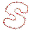 Long Pink Shell and Glass Crystal Bead Necklace - 120cm L