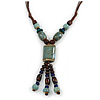 Dusty Light Blue Ceramic, Brown Wood Bead with Silk Cords Necklace - 56cm to 80cm Long/ Adjustable