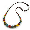 Multicoloured Ceramic Bead Brown Silk Cords Necklace - Adjustable - 60cm to 70cm Long