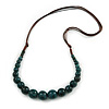 Teal Ceramic Bead Brown Silk Cords Necklace - Adjustable - 60cm to 70cm Long