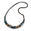 Blue/ White/ Brown Ceramic Bead Brown Silk Cords Necklace - Adjustable - 60cm to 70cm Long