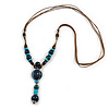 Long Blue, Teal, Brown Ceramic Bead  Light Brown Silk Cord Necklace - 70cm to 90cm Long (Adjustable)