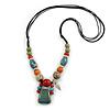 Pastel Multicoloured Ceramic Bead with Black Silk Cords Necklace - 50cm to 80cm Long/ Adjustable
