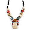 Pastel Multicoloured Ceramic Bead with Black Silk Cords Necklace - 50cm to 80cm Long/ Adjustable
