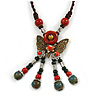 Bronze Tone, Ceramic Bead Butterfly Pendant with Brown Silk Cord Necklace - 72cm L/ 9cm Tassel
