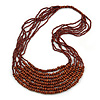 Statement Brown Wood and Glass Bead Multistrand Necklace - 78cm L
