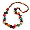 Multicoloured Round and Button Wood Bead Long Necklace - 88cm L