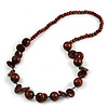 Brown Round and Button Wood Bead Long Necklace - 88cm L