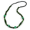 Statement Glass, Resin, Ceramic Bead Black Cord Necklace In Green - 88cm L