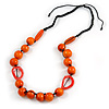 Signature Wood, Ceramic, Acrylic Bead Black Cord Necklace (Orange) - 72cm L (Adjustable)
