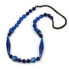 Statement Glass, Resin, Ceramic Bead Black Cord Necklace In Blue - 88cm L