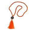Long Orange Wood Bead Cotton Tassel Necklace - 90cm L/ 15cm Tassel