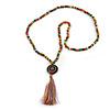 Long Multicoloured Wood Bead Cotton Tassel Necklace - 90cm L/ 15cm Tassel