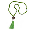 Long Spring Green Wood Bead Cotton Tassel Necklace - 90cm L/ 15cm Tassel