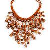 Burnt Orange Shell Nugget, Glass Bead Fringe Necklace - 42cm L/ 13cm Front Drop