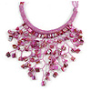 Pink Shell Nugget, Glass Bead Fringe Necklace - 42cm L/ 11cm Front Drop