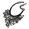Black Shell Nugget, Glass Bead Fringe Necklace - 42cm L/ 11cm Front Drop