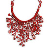 Red Shell Nugget, Glass Bead Fringe Necklace - 42cm L/ 11cm Front Drop