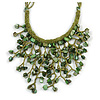 Green/ Olive Shell Nugget, Glass Bead Fringe Necklace - 42cm L/ 11cm Front Drop
