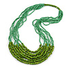 Statement Green Wood and Glass Bead Multistrand Necklace - 76cm L