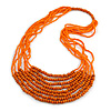 Statement Orange Wood and Glass Bead Multistrand Necklace - 78cm L