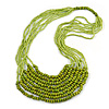Statement Olive Wood and Salad Green Glass Bead Multistrand Necklace - 74cm L